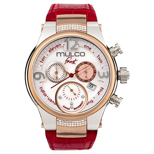Mulco Frost Ladies Quartz Swiss Chronograph Movement Women's Watch | Mother of Pearl and Swarovski Sundial with Rose Gold and Swarovski Accents | Red Watch Band | Water Resistant MW5-2601-163 ()