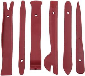 6pcs Luxury Plastic Sound Repairing Tools Car Radio Door Clip Panel Trim Dash Audio Stereo Removal Installation Pry Tools (Red)