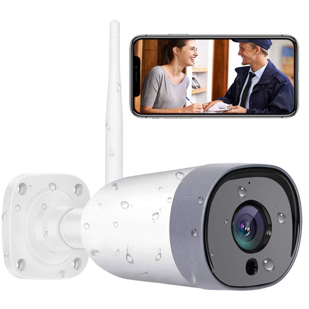 Mibao Cámara de Vigilancia WiFi Exterior, IP66 a Prueba de Agua y Polvo,Cámara de Seguridad,Visión Nocturna de 20 Metros,Tecnología de cifrado múltiple,Support for Android and iOS