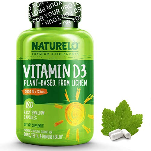 NATURELO Vitamin D - 5000 IU - Plant Based - from Lichen - Best Natural D3 Supplement for Immune System, Bone Support, Joint Health - Whole Food - Vegan - -