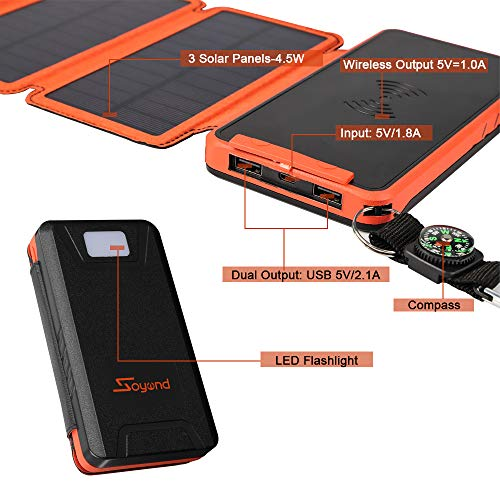 soyond Solar Qi Power Bank Solar Wireless Phone Charger Protable Qi Battery Pack 20000mAh Waterproof with Dual Ports for iPhone, Andriod Phone, iPad(Orange Wireless Charger) by soyond (Image #1)
