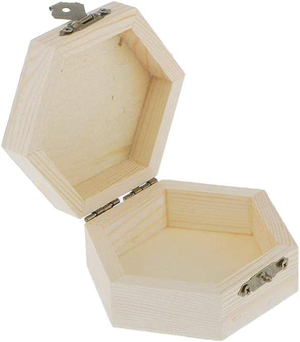 Potelin Caja de regalo hexagonal de madera para joyería, caja de almacenamiento de madera sin pintar, caja de madera para joyería: Amazon.es: Joyería
