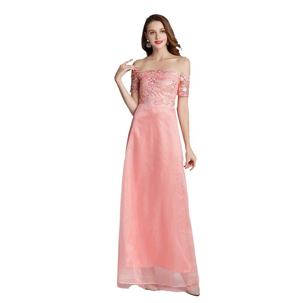 rose M Robe Section De Bal Demoiselle d'honneur Mariage Broderie Dentelle Cocktail Soirée