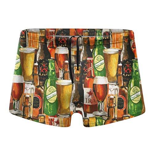 Vintage Beer Bottles Art Mens Swimsuit Quick Dry Boxer Brief Swimming Shorts Trunks Swimwear Black]()