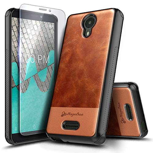 NageBee Wiko Ride Case with Tempered Glass Screen Protector, Premium [Cowhide Leather] Armor Shockproof Dual Layer Hybrid Rugged Durable Case for Wiko Ride (Boost Mobile) -Brown (Boost Mobile Cases)