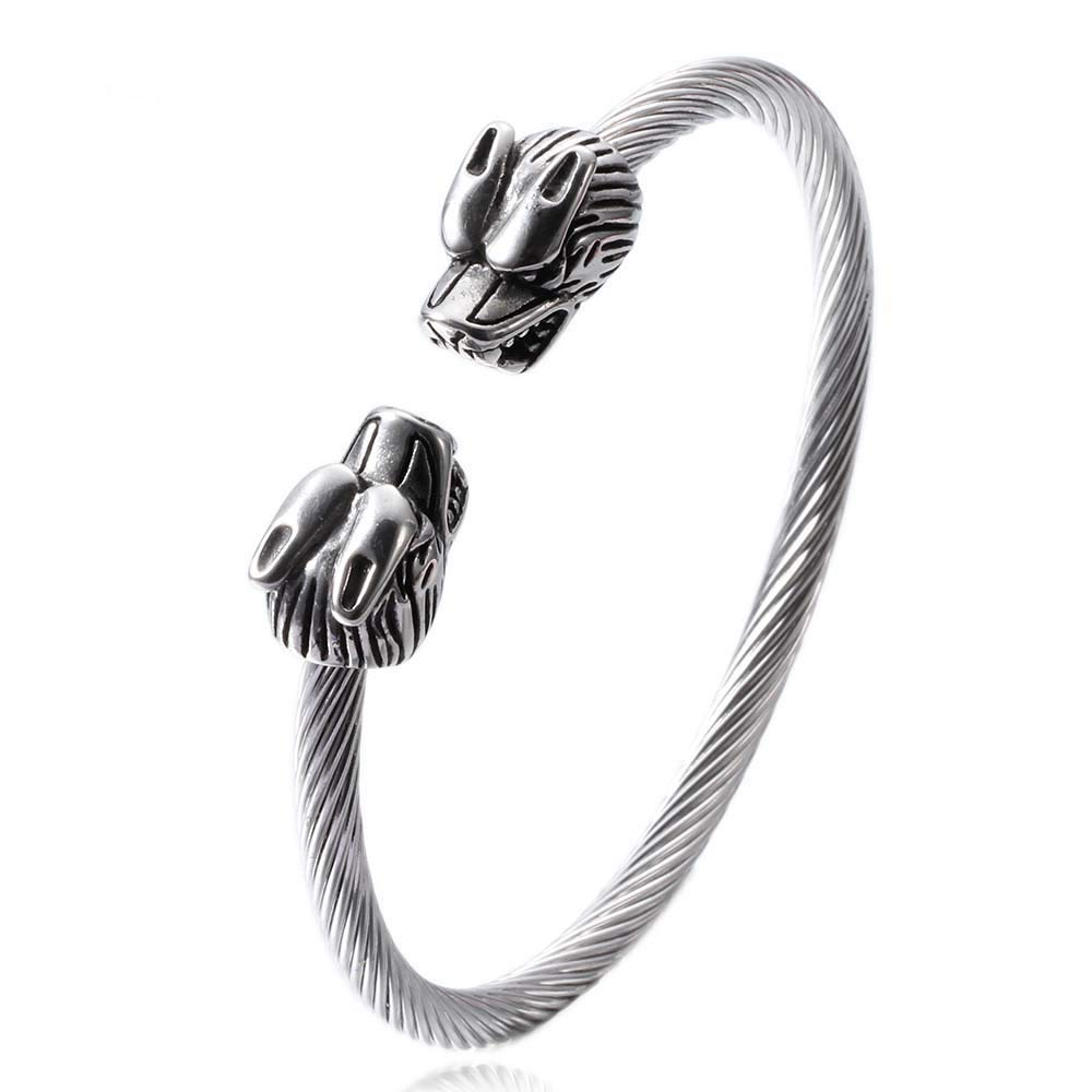 WeBuyNow Wire Line Titanium Steel Animal Bracelet Stainless Steel Cable Zodiac Dragon Bracelets Bangles