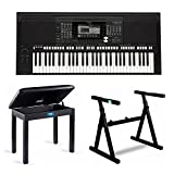 : Yamaha PSR-S975 61-Key Digital Arranger Workstation Keyboard with Knox Stand & Piano Bench