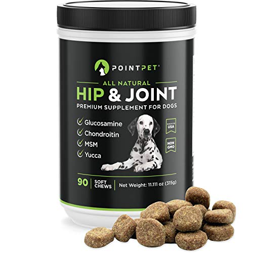 POINTPET Premium Joint Supplement for Dogs with Glucosamine, MSM, Chondroitin, Omega 3, 6, Vitamin E, Improves Mobility and Hip Dysplasia, Arthritis Pain Relief, 90 Soft Chews