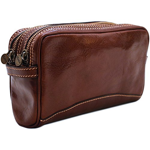 Cenzo Leather Travel Dopp Kit Toiletry Bag in Brown