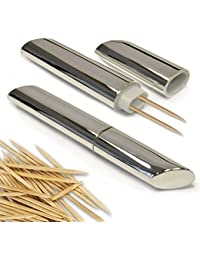 PickUp 2 Silver Plated Toothpick Holders Portable Case Containers Purse Pocket Travel online