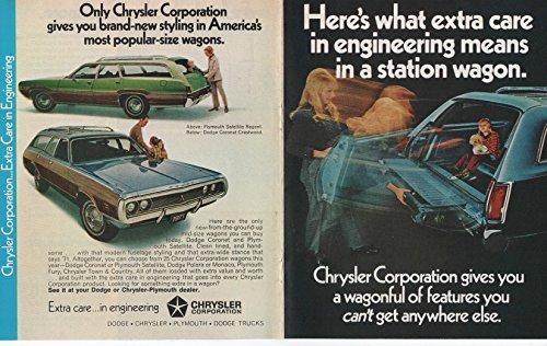 (Vintage Magazine Print Brochure/Insert: 1971 Dodge Coronet Crestwood/Plymouth Satellite Regent Mid-size Station Wagons,