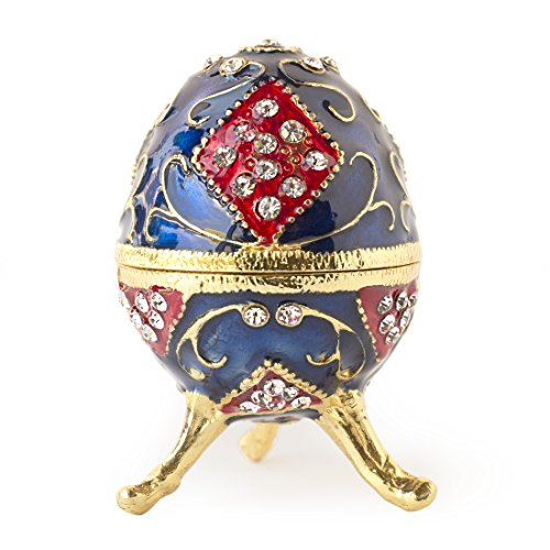 Box Egg Enamel - Apropos Hand-Painted Mini Faberge Egg with Rich Enamel and Sparkling Rhinestones Jewelry Trinket Box (Blue & Red)