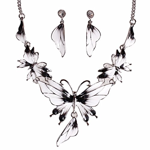 Set Lariat Earrings - QIYUN.Z Enamel Butterfly Pendant Bib Fringe Y Neck Lariat Necklace Stud Earrings Set