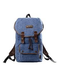 DouGuYan Unisex Vintage Canvas Backpack Rucksack Bookbag Hiking Bag 4 Colors (Light Blue)