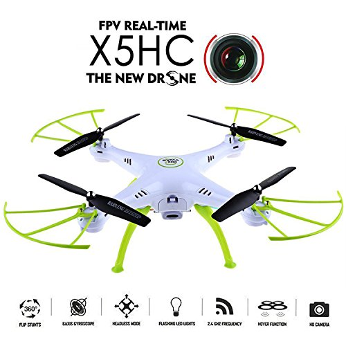 WayIn 2016 New Syma X5HC 2.4G 6-Axis Gyro HD Camera RC Quadcopter with Hovering Height-adjustment Function Green