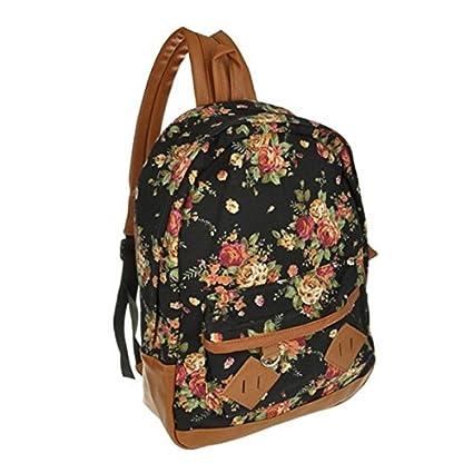 fbb1d2959234 Women Girl Vintage Cute Flower Floral Bag Schoolbag Bookbag Backpack