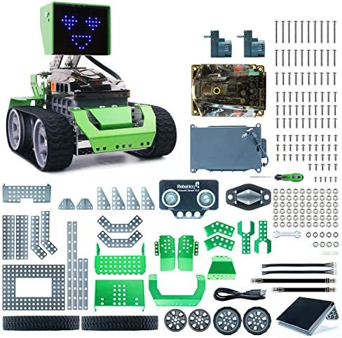Robobloq STEM Q-Dino 2 in 1 Metal Robot Dinosaur Building Kit with Remote Control Scratch Coding Learning for Kids Aged Over 8 Ultrasonic Sensor Music Playing