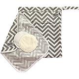 Pumping Bundle: Breastpump Parts Wet/Dry Bag and Mat + 2 Washable Nursing Pads (Chevron)