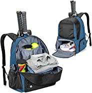 DSLEAF Tennis Backpack Holds 2 Rackets, Tennis Bag with Separate Ventilated Shoe Compartment Up to Mens 13