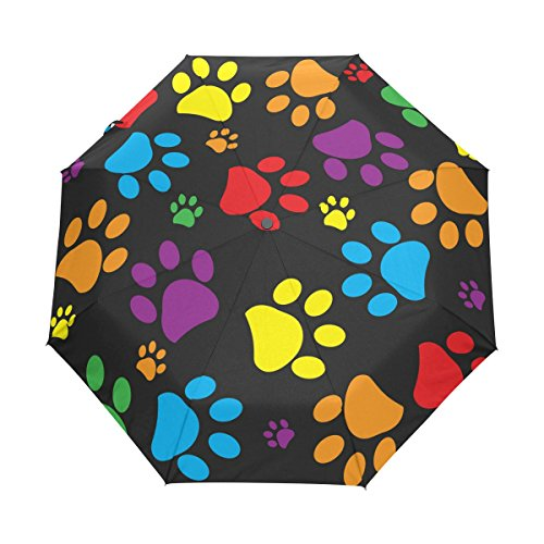 WOZO Colorful Paw Print 3 Folds Auto Open Close Umbrella (Print Umbrella)