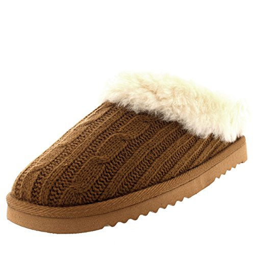 Tan Real Slippers Womens Womens Knitted Real RwXxSXqT