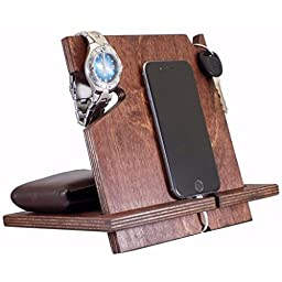 Wooden iPhone Docking Station, Valentine\'s Day Gift For Men, Anniversary Gifts For Boyfriend, iPhone 6s plus, 6s, 6 plus, 6, 5, 5s, 4, Samsung Galaxy, Android (Red Mahogany-non personalized)