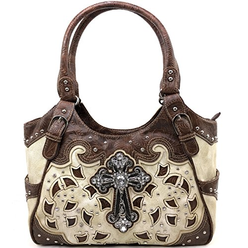(Justin West Tooled Leather Laser Cut Rhinestone Cross Studded Shoulder Concealed Carry Tote Style Handbag Purse (Beige Brown Handbag))