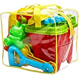 Bo-Toys Beach Sand Toys Set in Zippered Bag Castle Bucket, 15 Piece