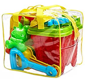 Bo-Toys Beach Sand Toys Set in Zippered Bag Castle Bucket, 15 Piece