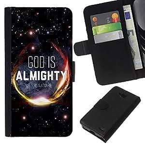 KLONGSHOP // Tirón de la caja Cartera de cuero con ranuras para tarjetas - BIBLIA Dios es Todopoderoso Apocalipsis 4: 8 - LG OPTIMUS L90 //