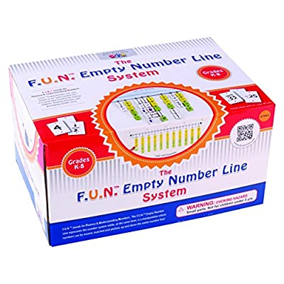 Learning Advantage F.U.N. Empty Number Line System - 182-Piece Blank Hanging Number Line with 25 Write On/Wipe Off Cards, 6