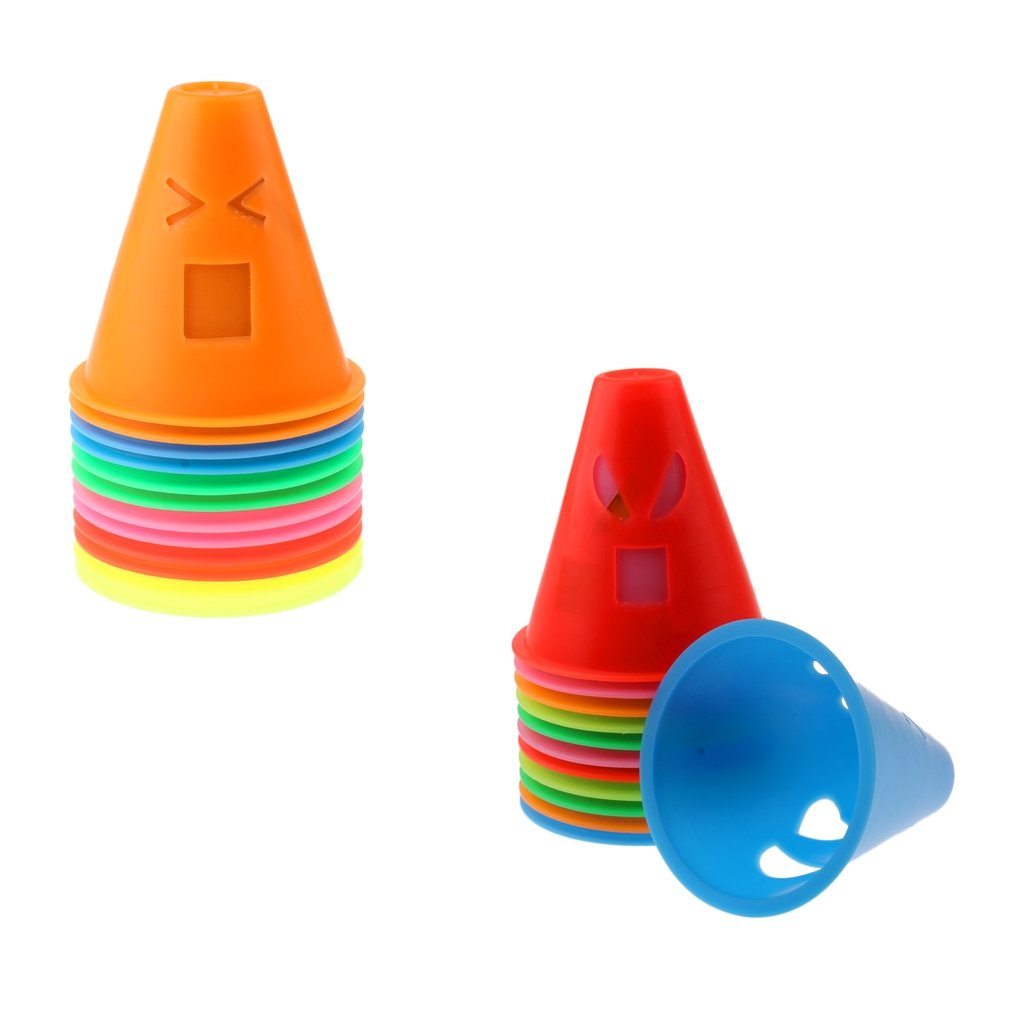 Homyl 24 Pieces Mix Color Expressions Style Agility Training Sport Cones Inline Roller Skating Skateboard Cones Pile Cup