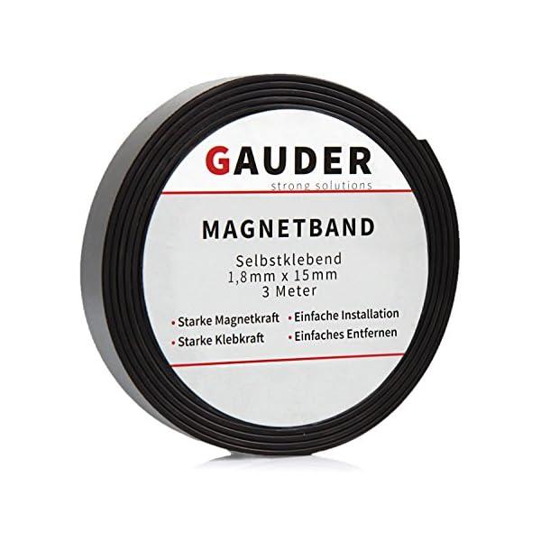 GAUDER Magnetband selbstklebend I Magnetstreifen I Magnetklebeband