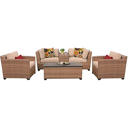 Amazon.com : Patio Table and Chairs - Vicenza 6 Piece Patio ...