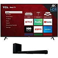 """TCL 50S425 50 inch 4K Smart LED Roku TV (2019) with 5+ 2.1 Channel Home Theater Sound Bar with Wireless Subwoofer - Ts5010, Black, 32"""""""
