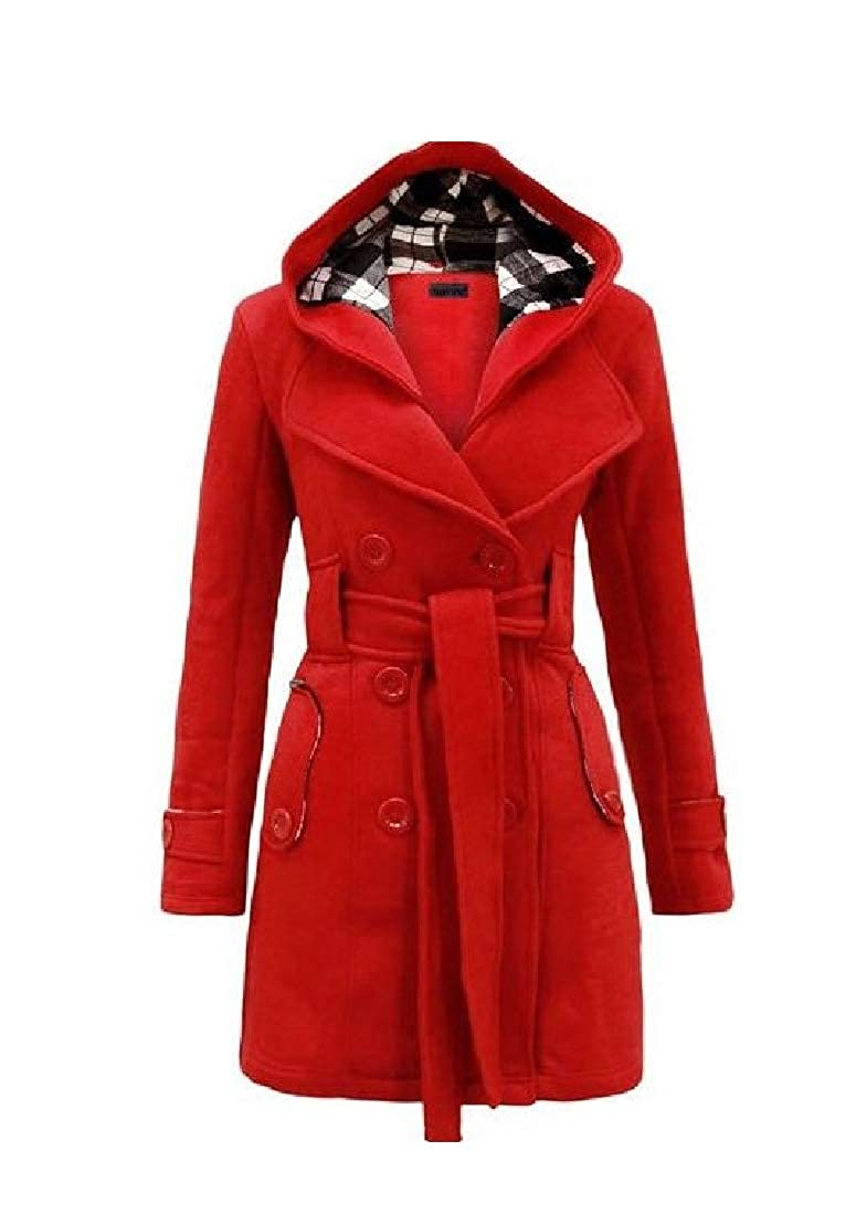 Zimase Women Pocket Fall Winter Belt Warm Slim Fitted Fashional Pea Coat