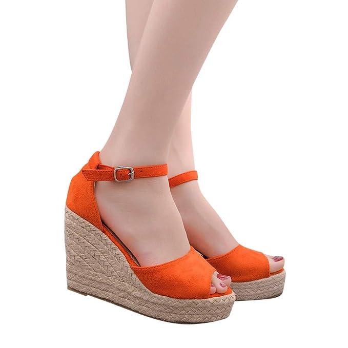 c05b358f 2019 Verano Sandalias Romanas Mujer, Zapato Peep-Toe Con Plataforma Cuña  Alpargatas Zapatillas De Boda Fiesta Sandalias De Vestir De Talla Grande  33-44 EU: ...