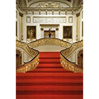 AOFOTO 6x8ft Artistic Backdrops Girl Photography Background Chic Floral Stair Handrail Red Carpet Painting Frame Luxury Room Adult Baby Toddler Boy Portrait Scene Studio Props Video Kid Photo Shoot
