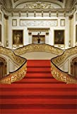 british 5x7ft - AOFOTO 6x8ft Luxury Palace Interior Backdrop Red Carpet Photography Background Chic Floral Stair Handrail Painting Frame Classic Room Decoration Lovers Girl Adult Portrait Photo Studio Props Wallpaper