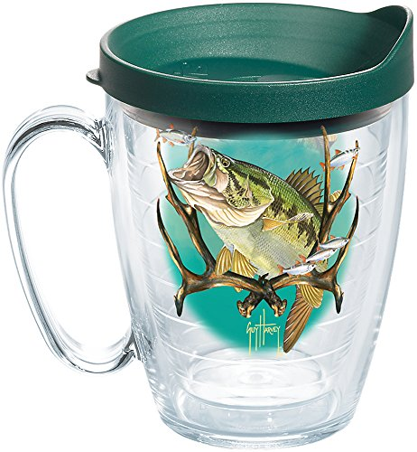 (Tervis 1258356 Guy Harvey - Largemouth Bass Insulated Tumbler with Wrap and Hunter Green Lid, 16oz Mug, Clear)