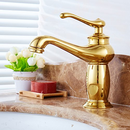 S redOOY Faucet Taps golden Faucet Hot And Cold Faucet Copper Bathroom Height bluee And White Porcelain Counter Basin gold-Plated Antique Faucet, Silver