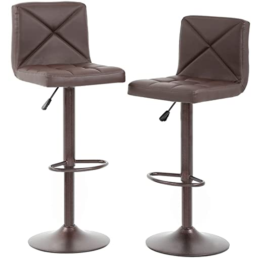 BestOffice Counter Height Bar Stools Set of 2 PU Leather Modern Height Adjustable Swivel Barstools Hydraulic Chair Bar Stool