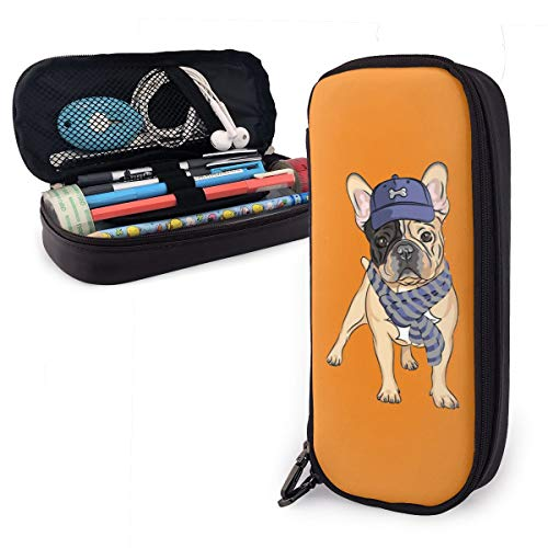French Bulldog Leather Pencil Case Made of High-Grade PU Leather,Elastic Band Fixation,Portable Design,Convenient]()