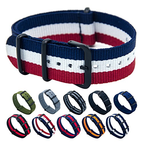 Nato Watch Bands 18mm 20mm 22mm Premium Ballistic Nylon Watch Strap with Stainless Steel Buckle by KDM
