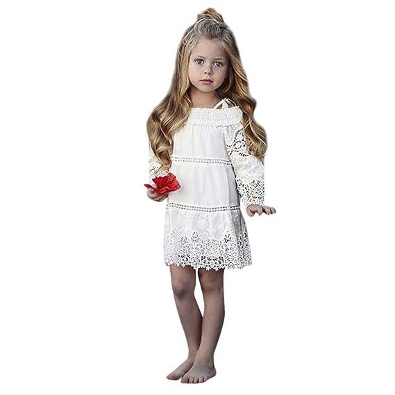PAOLIAN Vestidos Blancas para Niñas Manga Larga Otoño 2018 Vestidos de la Honda con Encaje Hueco bebé Niñas Vestidos Princesa Monos Fiestas de 2 Años 3 Años ...