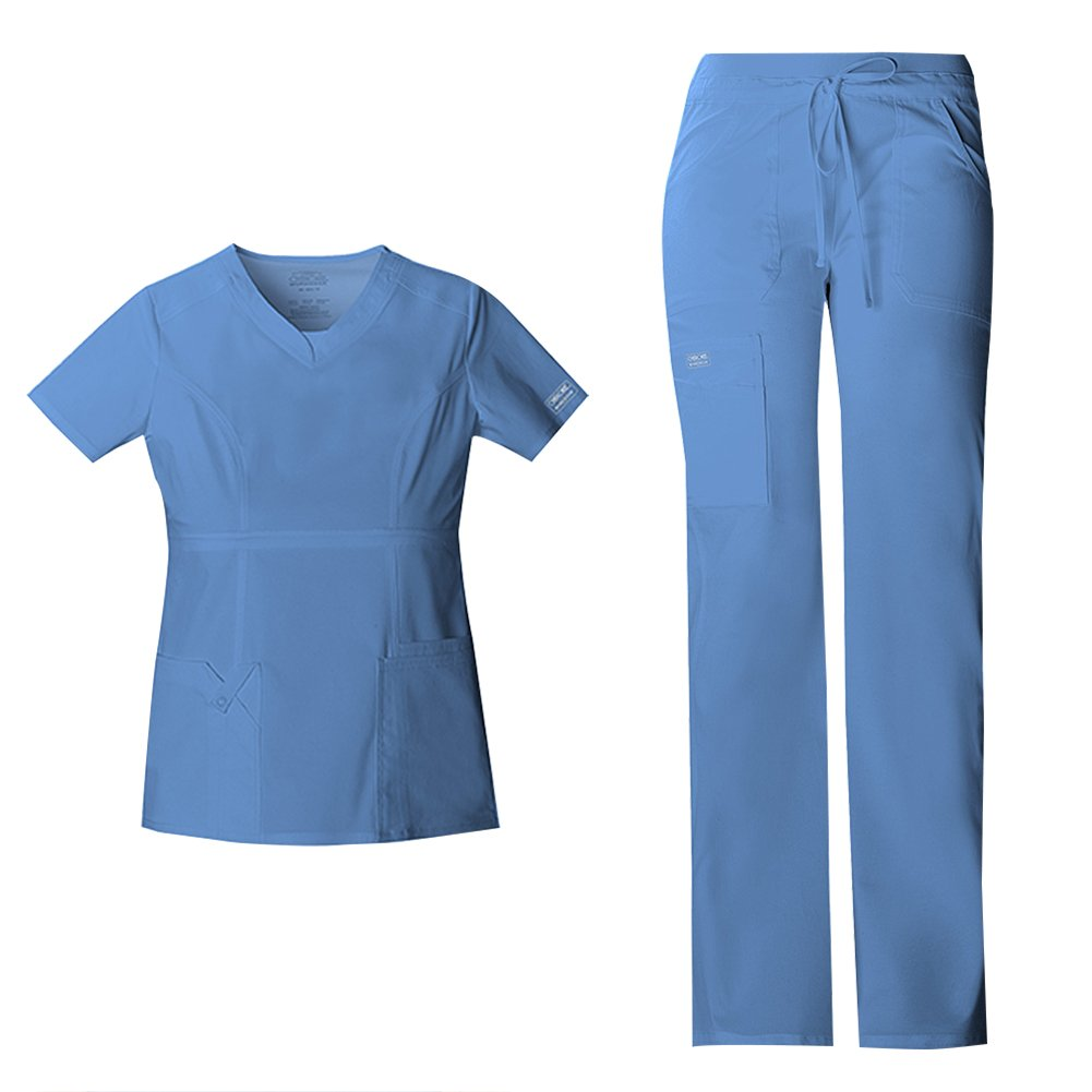 edc513ccf21 Scrub Set includes the Cherokee Women's Workwear Core Stretch Junior Fit  V-Neck Top 24703 & Core Stretch Junior Fit Drawstring Low-Rise Cargo Pant  24001