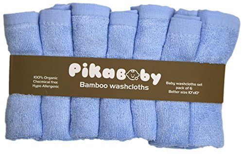 "Pikababy Organic Bamboo Baby Washcloths, 6 absorbent towels- 10""x10"" Reusable Wipes (Blue)"