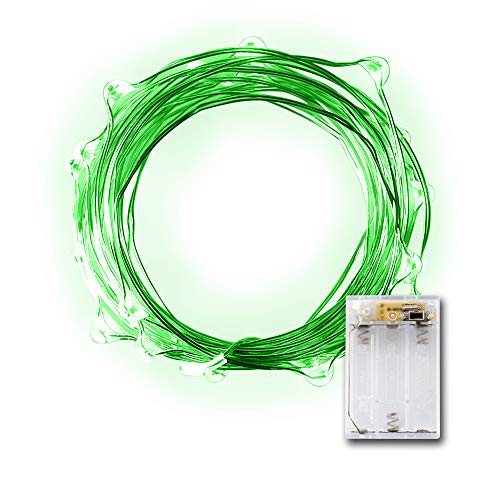 20 Micro LED Green String Lights with Timer
