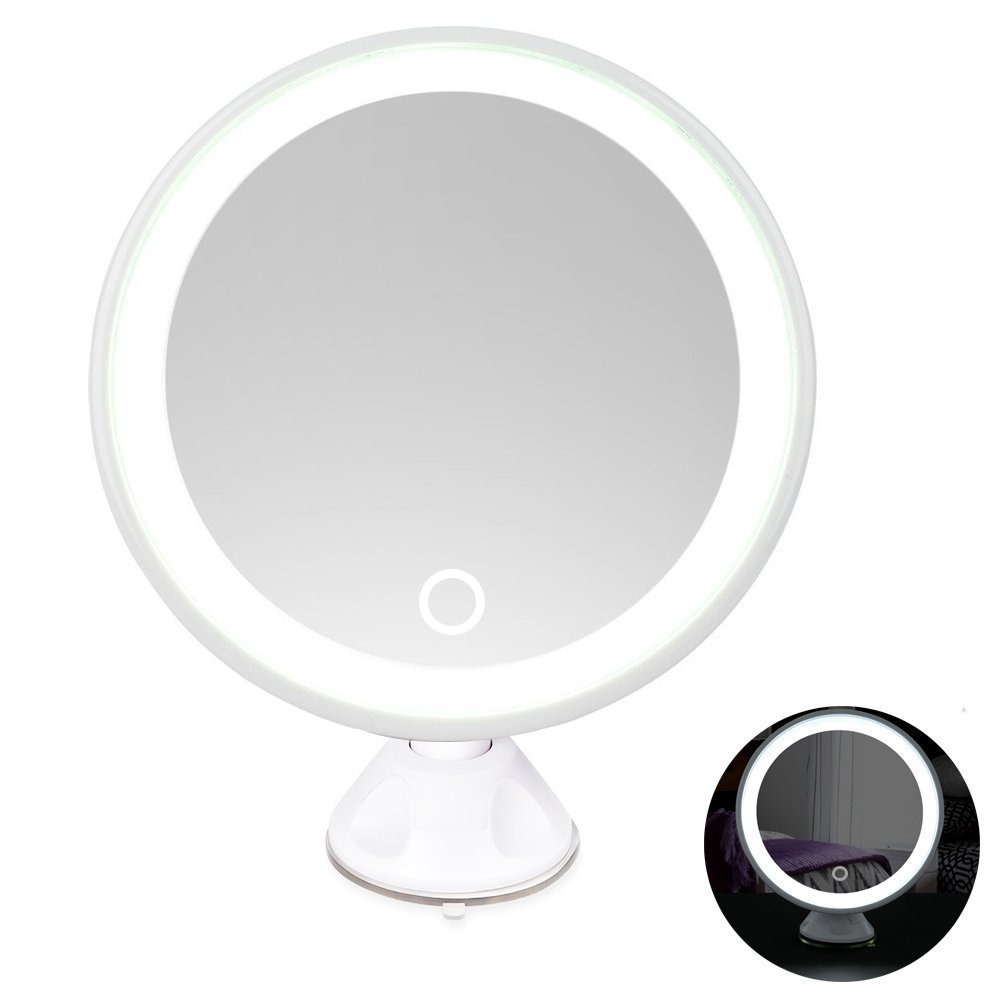 Rantizon LED Makeup Mirror 7X Magnifying Lighted Illuminated Rechargeable Cosmetic Mirror 360° Rotation Adjustable Suction Mounted Shaving Mirror Tabletop Bathroom Mirror