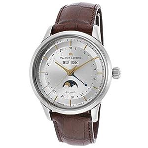 Maurice Lacroix Lc6068-Ss001-132 Men's Les Classiques Auto Brown Genuine Leather Silver-Tone Dial Ss Watch